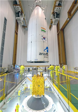 Arianespace integrates GSAT-11 and GEO-KOMPSAT-2A for next week's Ariane 5 launch