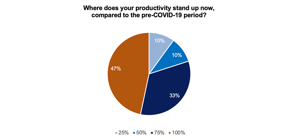 Where does your productivity stand up now, compared to the pre-COVID-19 period?